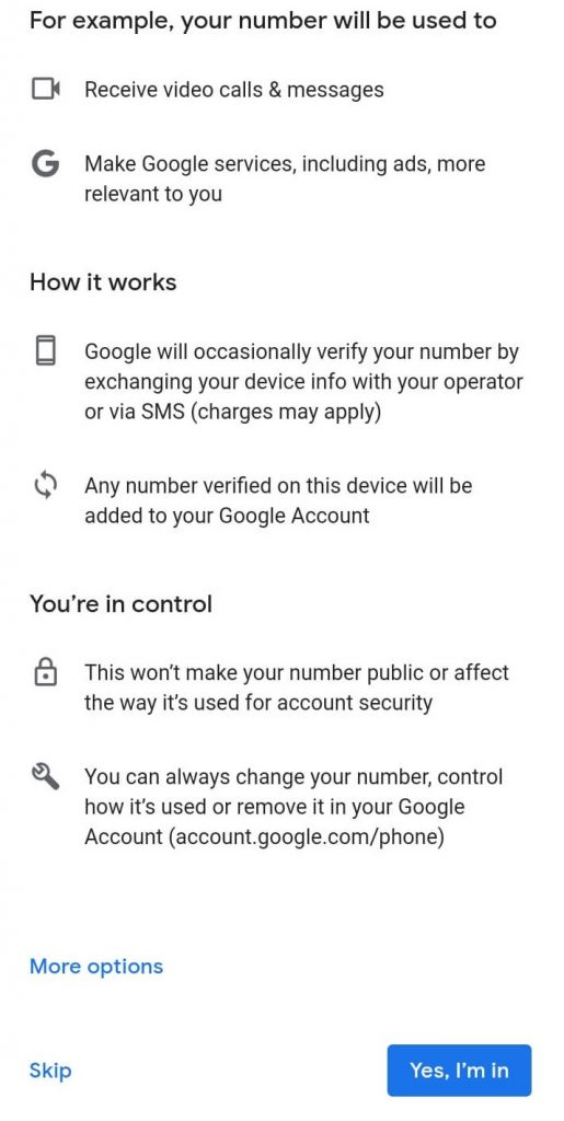 Choose Yes, I'm in to Sign in Google Play Store