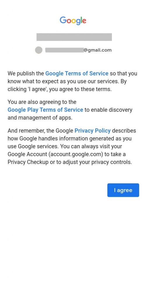 Click on I Agree-How to Sign in Google Play Store