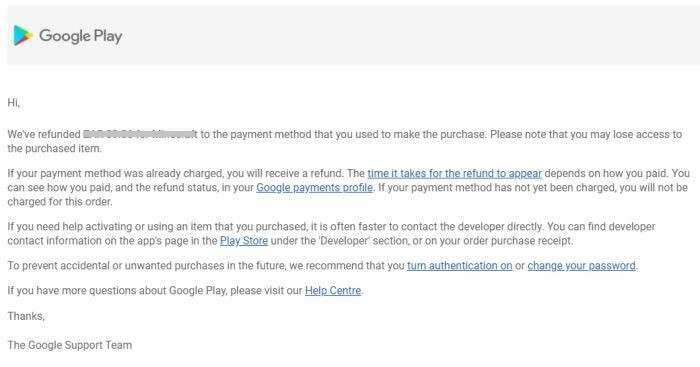 Play Store Email Response