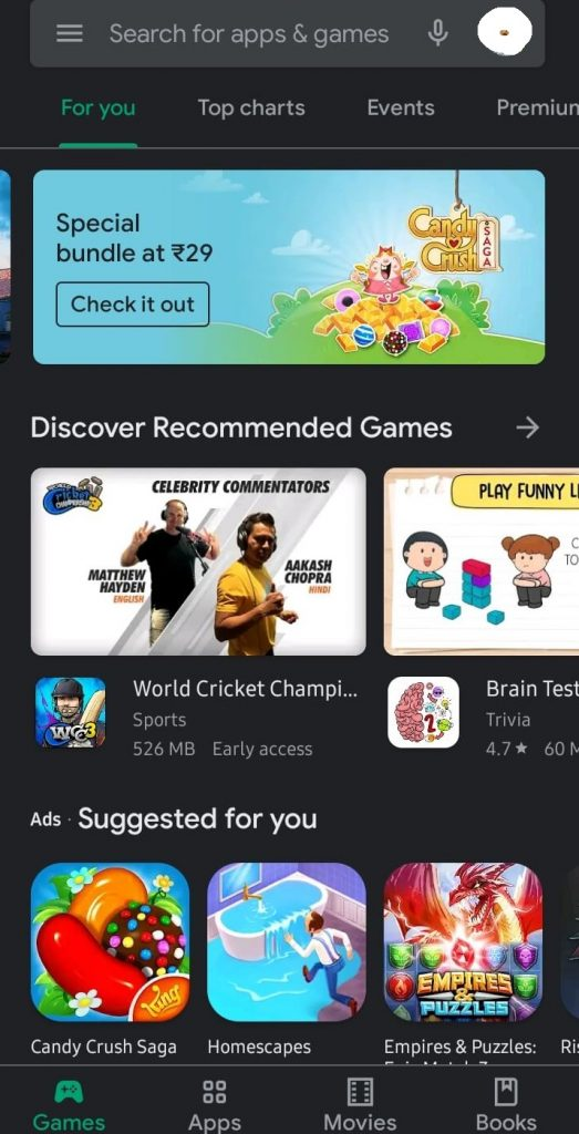 Play Store Home Page in Dark Mode