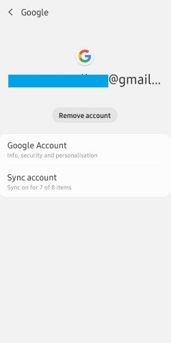 Click on Remove Account to fix Play Store Won't Download