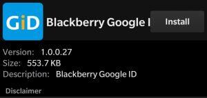 Install BlackBerry Google ID apk