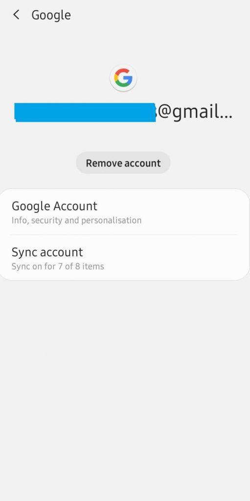 Remove Account to fix Google Play Store Won't Open issue