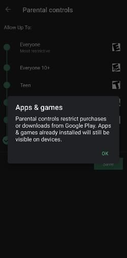 Press OK to Lock Play Store & Set up Parental Control