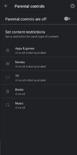Select Content Restrictions to Lock Play Store